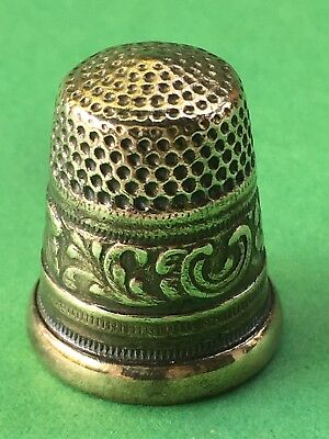 Messing Fingerhut Blumenborte Brass Thimble Flowerband
