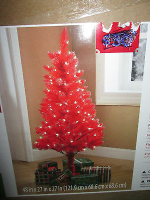 Christmas Holidays 4 Ft Pre-Lit Red Tinsel Tree Clear Lights