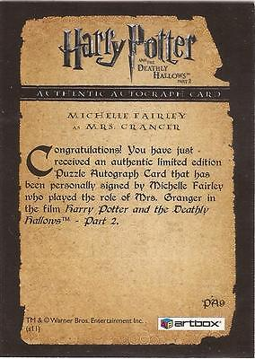 "Harry Potter Deathly Hallows 2 PA9 Michelle Fairley ""Mrs Granger"" Autograph Card"