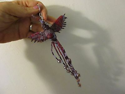 purple hummingbird keychain Beaded bird Handmade glass Beads figurine ornament