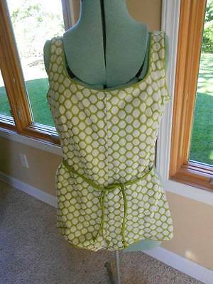 Fantastic Vintage Bathing Suit. Green with White Dots.