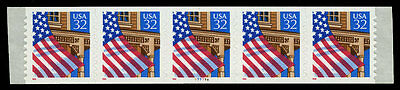 US #2915A 32¢ Flag 10 x 10 reverse die cut PS5 PNC5 Pl 77777A VF NH MNH