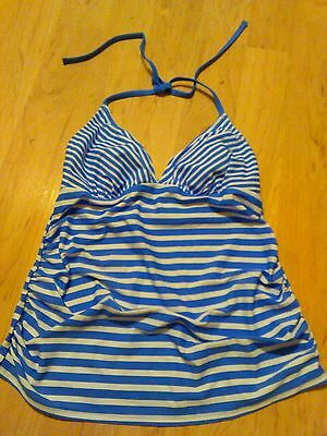 NWOT Womens Liz Lange maternity (for Target) tankini top size S blue striped