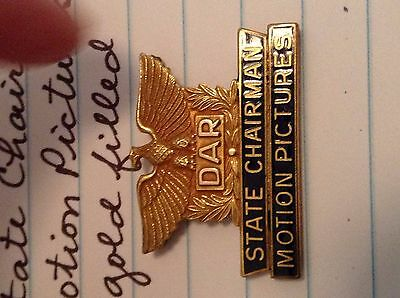 Daughters Of American Revolution Pin* State Chair Motion Pictures*gold Filled