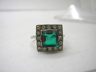 Art Deco Silver Green & White Paste Square Cluster Ring size S