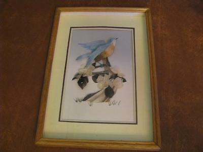 Vintage FEATHER ART Shadow Box Picture Frame Blue Birds Wall Decor
