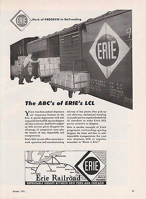 1955 Erie Railroad Ad: The ABC's of Erie's LCL Less Than Carload Shipments