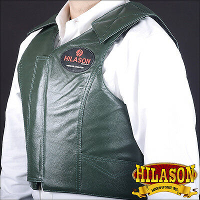 Hilason Leather Bareback Pro Rodeo Horse Riding Protective Vest Green X-Large
