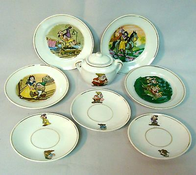 Snow White Toy Tea Set Dishes Made In Japan, Louis Marx, Walt Disney Productions