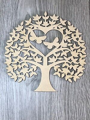 Wooden MDF DIY Tree with Butterflies, Family Tree, Craft, Wedding