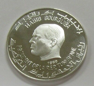 1969 Tunisia 1 Dinar KM #249 High Grade Silver Proof Coin