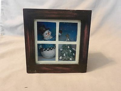 Wooden Shadowbox with Snowman Decorating a Tree