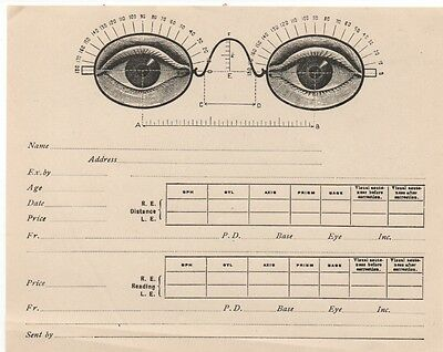 1920 Ophthalmologist Eye Test Chart with Open Eyes with Glasses