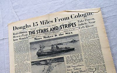 WW2 Stars & Stripes newspaper 2-26-45 Doughboys 15 Miles From Cologne Erft River