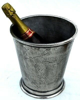 Large heavyweight distressed metal champagne ice bucket