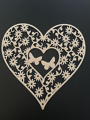 MDF Heart Shape Plaque Flowers & Butterflies Craft Mothers Day Birthday Gift