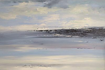 LARGE ORIGINAL SEASCAPE ABSTRACT CONTEMPORARY MODERN PAINTING 90x60cm box canvas