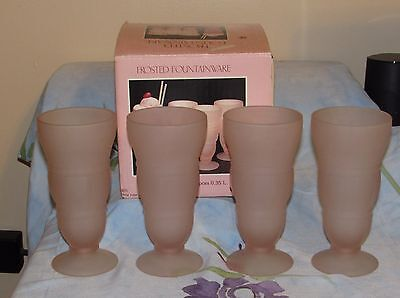 Vtg Indiana Glass PINK Frosted Fountainware 4 pc. 12 oz. Soda Set  USA