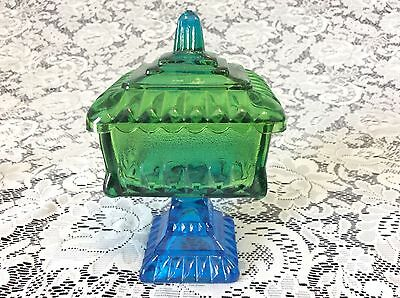 Vintage Jeannette Green to Blue Flashed Glass Candy Dish ca.1950's