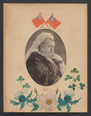 1897 Queen VICTORIA Picture In Original Hand Painted Matting Vintage Royalty UK
