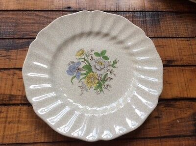 "1930's Vintage china English Royal Doulton 8 1/2"" plates chintz transferware"