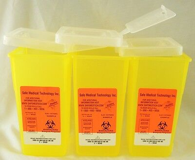 1 Quart Sharps Container Lot Of 3 Biohazard Needle Disposal Tattoo Free Shipping