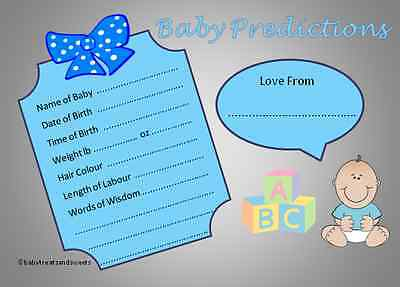 Baby Shower Boy Prediction Cards - Pack of 10, 20, 30, Fun Game