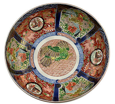 Large Japanese Imari Porcelain Black Ship Punch Bowl w/ Dragons