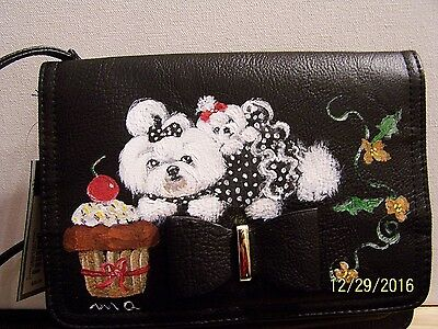 Maltese hand painted small bow APT.9 crossbody  bag built in wallet