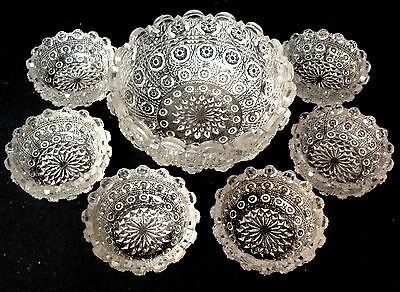Eapg Lacy Daisy Childs Toy Glass Berry Set By Us Glass Antique Complete 7 Pc Set