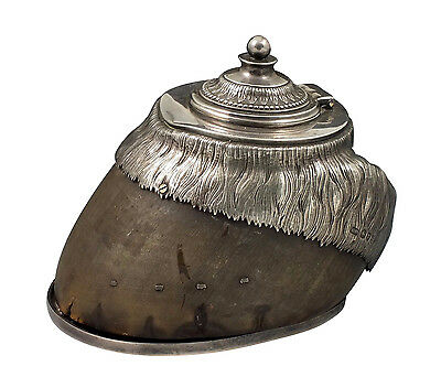 Nice 19thC English Silver & Horse Hoof Figural Inkwell
