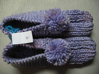 """New Amish Handmade Knitted Slippers Booties Orchid Mix Womans Lg Mans Med 9 1/2"""""""
