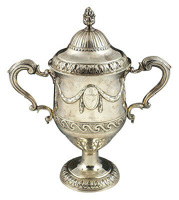 18th Century Matthew West Irish Sterling Silver Trophy Loving Cup 48+ Troy Ounce