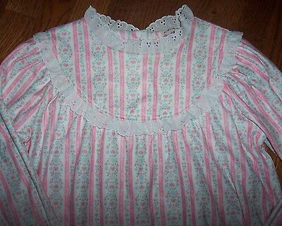 NWT Lanz of Salzburg PINK HEARTS Tyrolean Flannel Nightgown LACE XL 14/16 Girls