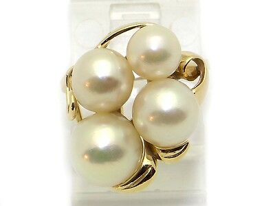 Mikimoto 14k Yellow Gold 8mm 5mm White Pearl Cluster Band RingSize 5