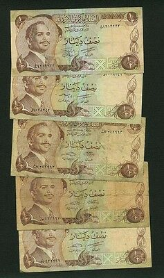 Jordan 1975-1992  1/2 Dinar Banknotes, Group Lot Of (5) Circulated Examples