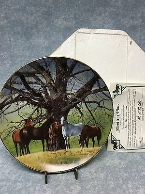 Horse plate Meeting Place Danbury Mint Collectors signed Don Patterson 1991 8""