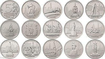 Russia 5 rubles 2016 set of 14 coins The Capitals liberated by the Soviet Troops
