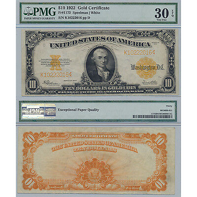 1922 $10 Gold Certificate Fr.1173 PMG Certified Very Fine 30 EPQ Large Size Note