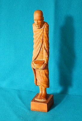Vintage Carved Wood Statue of Buddhist Monk Burma