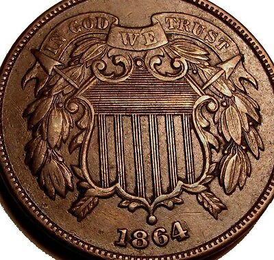 OLD US COINS 1864 HIGHGRADE OBSOLETE TWO CENT 2 c PIECE FREE SHIP US AND CA