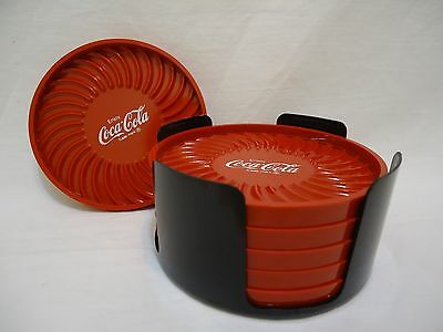 Vintage Coca Cola Coasters Set 6 Red With Holder Ritepoint USA Coke Collectible