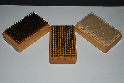WAX BRUSHES set of 3 Rectangular wood base handles