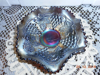 "Northwood Amethyst Carnival Glass Cable and Grape 6"" Bowl"