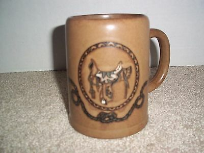Country Western Cowboy Saddle Rope Unique Pottery Coffee Tea Mug marked C821