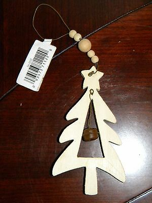 NWT Provo Craft Wooden Christmas Tree Evergreen Ornament Metal Jingle Bell Hook