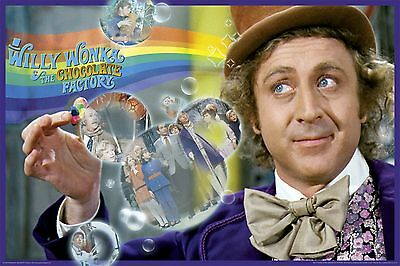 (LAMINATED) WILLY WONKA MOVIE COLLAGE POSTER (91x61cm)  PICTURE PRINT NEW ART