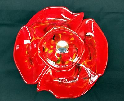 1960's Red Lava Glaze California Pottery Lazy Susan Chip And Dip Set