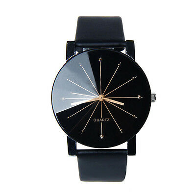 Luxury Men Watch Women Watch Quartz Dial Leather Round Case Wrist Watches Black