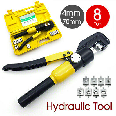 8 Ton Wire Force Hydraulic Terminal Crimper Cable Crimping Tool 9 Dies 4-70mm AU